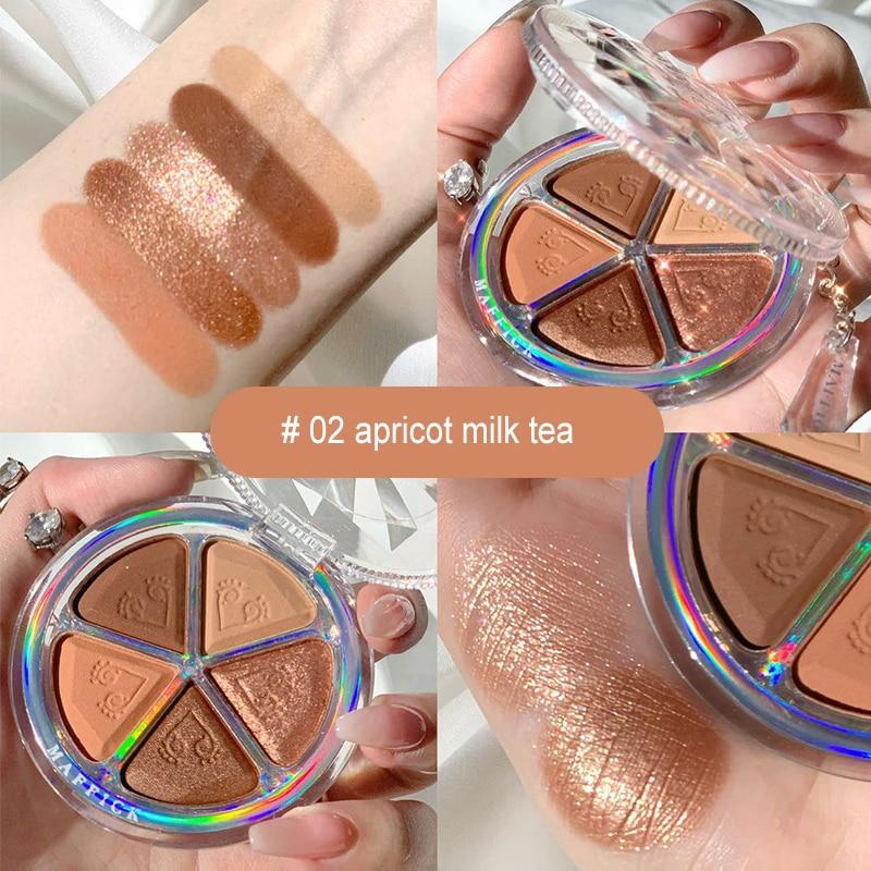 5 Colors Shimmer Glitter Eye Shadow Palette Makeup Copper Bronzer Smoky Eye Shadow Long lasting Glitter Eyeshadow Nude Cosmetic